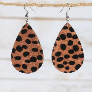 Jewelry - Brown Leopard Teardrop Earrings